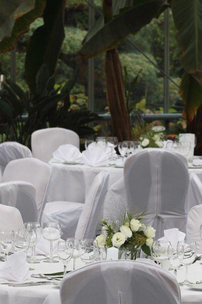 Hochzeitcatering im Plangarten. Nahaufnahme auf die Tische