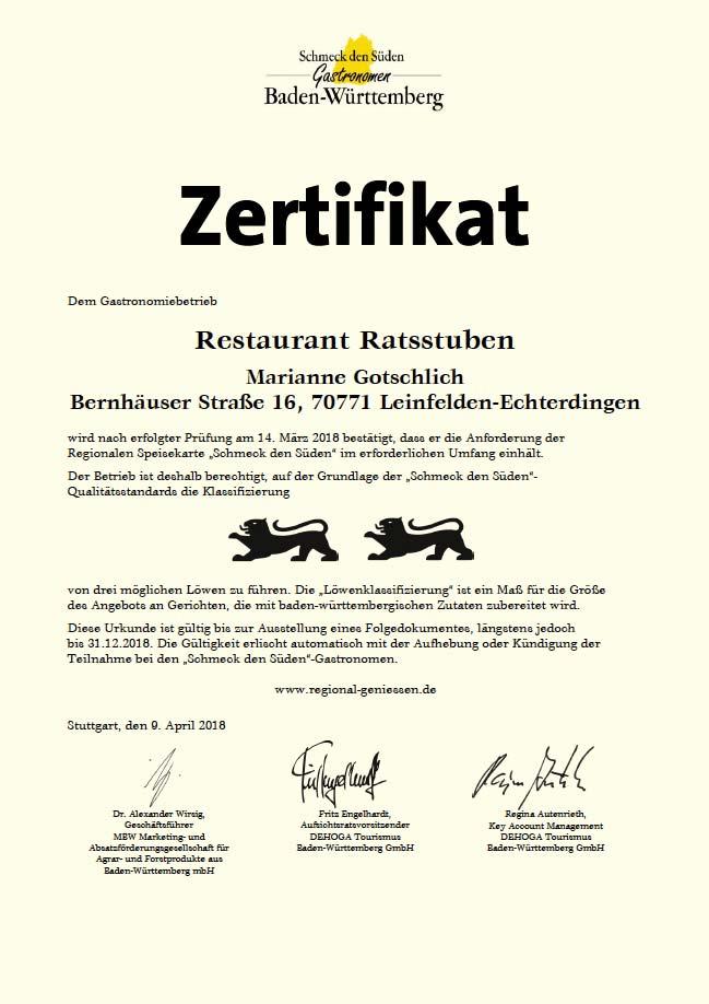 Zertifikat Ratsstuben