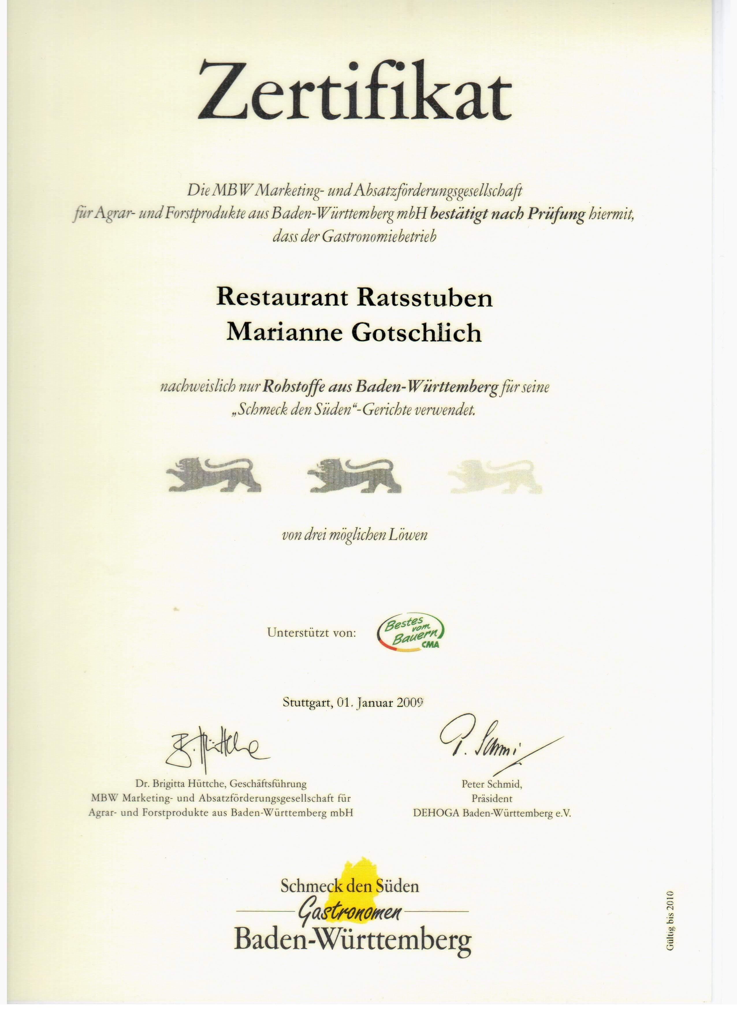 Zertifikat - restaurant Ratsstuben - Schmeck den Süden groß