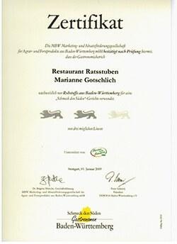 Zertifikat - restaurant Ratsstuben - Schmeck den Süden